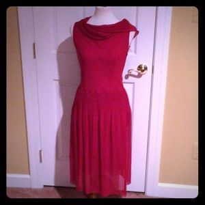 Alberta Ferretti Sheer Red Dress New Without Tags.